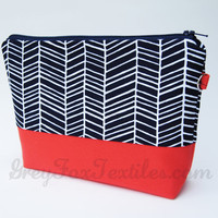 Handmade designer fabric #Herringbone #Cosmetic #Case in #Navy #Blue and #Coral / Orange