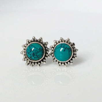 Turquoise Stud Earrings, Turquoise Jewelry, Turquoise post earrings, Turquoise ear stud, Boho stud earrings, bohemian jewelry, tribal studs