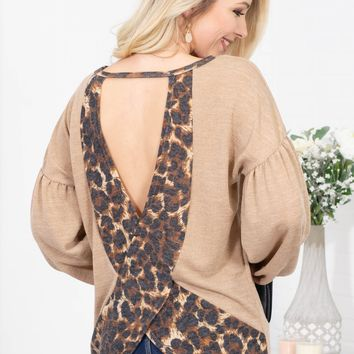 Mocha Leopard Open Back Top