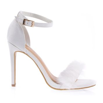 Truelove39M Ivory By Anne Michelle Fluffy Faux Feathery Fur High Heel Sandal