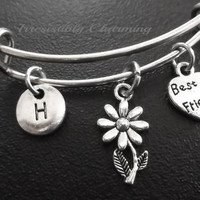 Best friends, sunflower Stainless Steel Expandable Bangle, monogram personalized item No.725