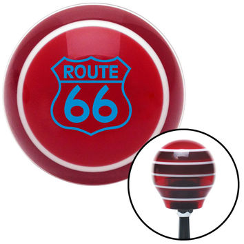 Blue Route 66 Sign Red Stripe Shift Knob with M16 x 15 Insert