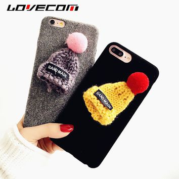 LOVECOM For iphone 5 5S SE 6 6S 7 8 Plus X Case DIY Fuzzy Winter Colorful Handmade knitted Hat Anti-Shock Soft Cover Phone Cases