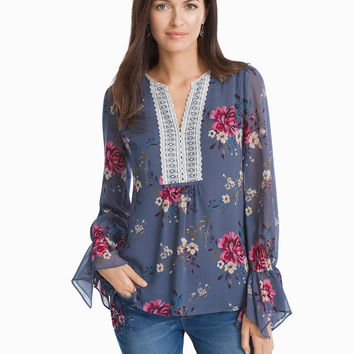 White House Black Market Floral Tunic Blouse