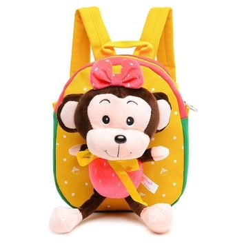 New Fashion Toddler Kindergarten School Bags Kids Plush Backpack With Cartoon Monkey Children Cute Dot Bow Bags Mochila Infantil
