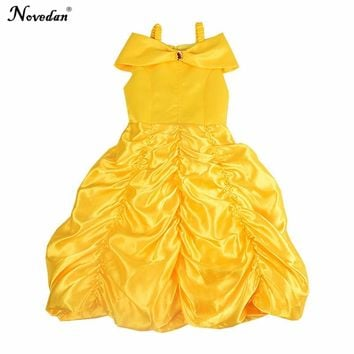 Beauty And The Beast Costume Princess Belle Dress Kids Girls Yellow Long Ball Gown Baby Birthday Party Cosplay Halloween Costume