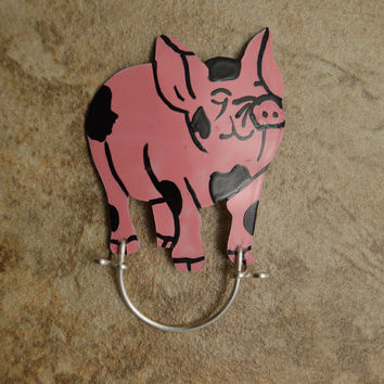 Hand Painted Custom Made Pink Pig Magnetic Eyeglass Holder