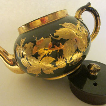 Staffordshire England Green Teapot Decorated Gold Flowers