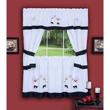 Ben&Jonah Collection Gourmet Embellished Cottage Window Curtain Set - 58x24 Tailored Tier Pair/58x36 Tailored Topper with attached swaggers and tiebacks. - Black