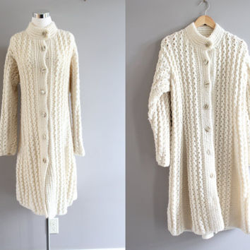 Hand knitted cream ivory heavy pure 100% wool high neck chunky cable knit slouchy button up long coat small medium large