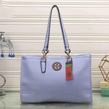 Tory Burch Women Leather Flower Print Shopping Tote Handbag Shoulder Bag Light blue I-MYJSY-BB