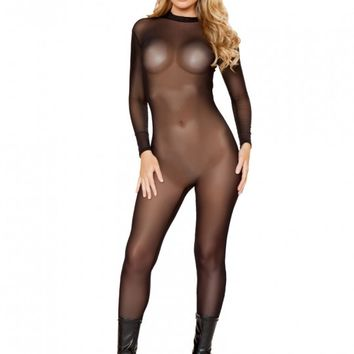 Black Sheer Mesh Catsuit