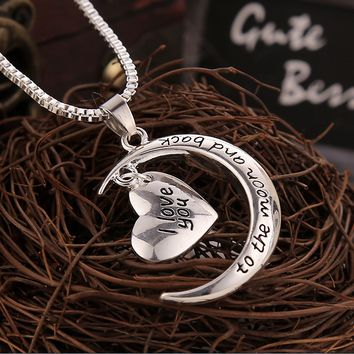 "I Love You To The Moon and Back ""Love Moon Necklace"