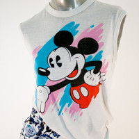 90s vintage mickey mouse muscle tee, 1990s 1980s 80s fashion clothing disney tshirt, spring 2014 free people urban outfitters retro retrofit