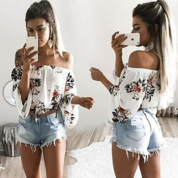 DCCKH3L Fashion Casual Flower Print Off Shoulder Long Sleeve T-shirt Tops