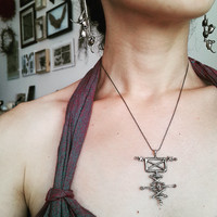 "Handmade Icelandic silver sigil jewelry to invoke ghosts and spirits, ""stafur til að vekja upp draug"", magical stave pendant, galdrastafur"