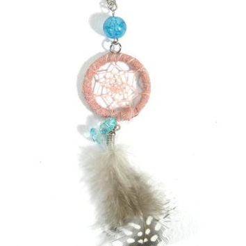 Dreamcatcher Feather Necklace Pink Beaded Silver Tone Chain NL01 Native American Style Boho