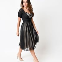 1950s Style Black Cafe Noir Half Sleeve Chiffon Swing Dress