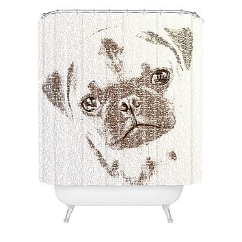 Belle13 The Intellectual Pug Shower Curtain