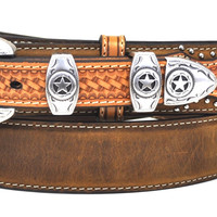 Nocona Men's Western Ranger Leather Belt w/ Star Buckle-Tan