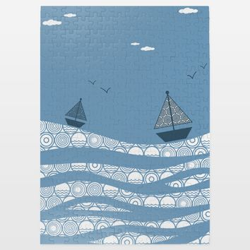 Blue Sea Jigsaw Puzzle by Playedonwalls on BoomBoomPrints