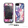 The Seamless Pink & Blue Color Leaves Skin for the Apple iPhone 5c LifeProof Case