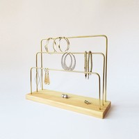Handmade Wood and Brass Jewelry Stand, Natural, 3 bars