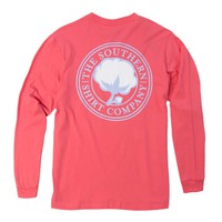 Southern Shirt Company Signature Logo Long Sleeve T-Shirt in Coral 3T023-104