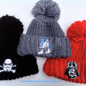 Star Wars Patch Knit PomPom Hat Unisex Oversized Winter Slouchy Hipster Loose Knit Cuffed Beanie Bobble Hat Black Red Grey