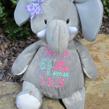 Embroidered Elephant- Birth announcement gift - Embroider buddy - EB - stuffed elephant- monkey stuffed animal