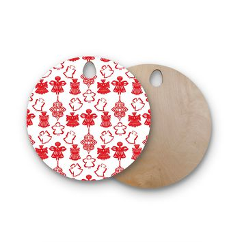 "Miranda Mol ""Angels Singing White"" Red Holiday Round Wooden Cutting Board"