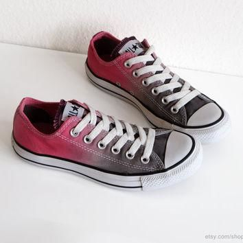 Grey and pink ombre dip dye Converse sneakers, upcycled vintage All Stars, low tops, b