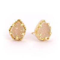 Kendra Scott Gold Iridescent Drusy Tessa Stud Earrings