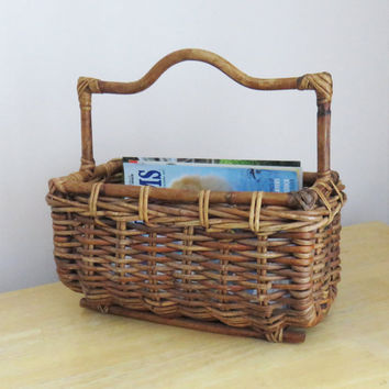 Vintage magazine rack basket - wicker magazine basket holder rack with handle - rattan magazine rack stand organizer holder