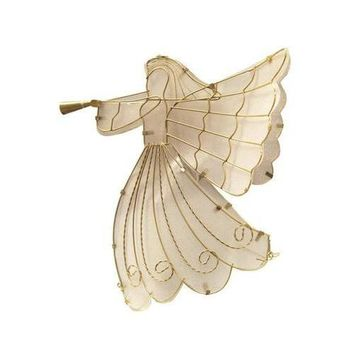 """11"""" LED Lighted Gold Shimmer Angel Christmas Tree Topper - Warm Clear Lights"""