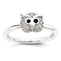 Sterling Silver Stackable Expressions Polished Onyx Owl Ring