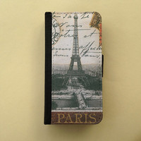 iPhone 4 5 flip case Samsung Galaxy S3 S4 wallet, Paris iPhone wallet, book style, Samsung iPhone 5 - Eiffel Tower vintage postcard