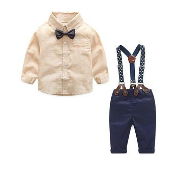 Formal Baby Boy Clothing Set Autumn Stripe Long Sleeve Bow Tie T-shirt+Suspenders Pants Cotton Baby Clothes