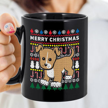 Tan Puppy Dog Coffee Mug 110z Black - Merry Christmas, Christmas Party, Tacky Xmas Sweater, Dog, Ceramic Cup