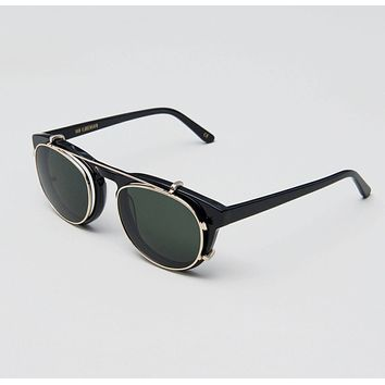 Han Kjobenhavn - Timeless Clip On 50mm Black Sunglasses / Green Lenses