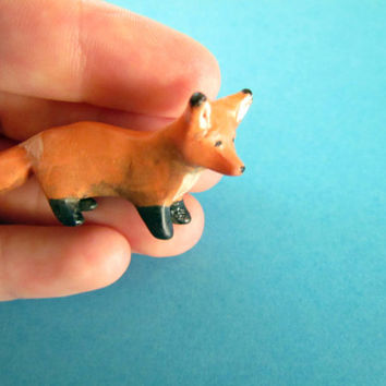 Miniature Fox Polymer Clay, Sculpey Fox, Fox Figurine, Tiny Fox, Polymer Clay Totem, Fox Totem, Animal Totem, Spirit Animal