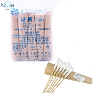 BOLIKIM 12CM x 200 Pieces Sterilized Cotton Women Makeup Cotton Buds Tip For Medical Wood Sticks Nose Ears Cleaning Tools