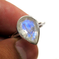 Blue Fire Rainbow Moonstone studded 925 Sterling Silver Ring , gift for her engagement ring wedding tear drop Faceted Gem stone handmade