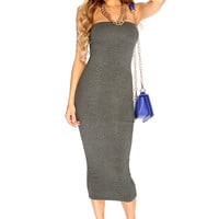Charcoal Summer Strapless Midi Party Dress
