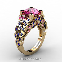Art Masters Nature Inspired 14K Yellow Gold 3.0 Ct Pink and Blue Sapphire Engagement Ring Wedding Ring R299-14KYGBPS