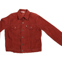 Mo Vintage Levi Corduroy Button Down Jacket - Maroon
