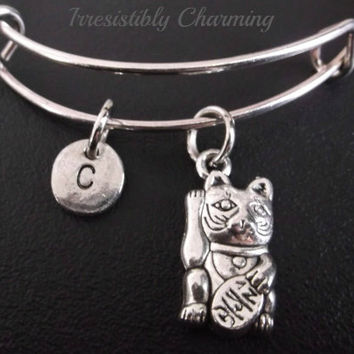 Fortune Chinese cat Maneki Neko Stainless Steel Expandable Bangle, monogram personalized item No.213
