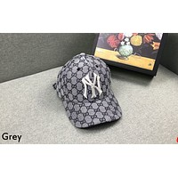 GUCCI x MLB joint embroidery letter anti-mite men and women baseball cap grey