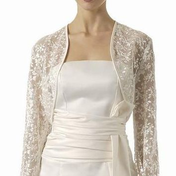 CLEARANCE - Lace Embroidered Ivory Long Sleeve Bolero Jacket Shrug (Size Medium)