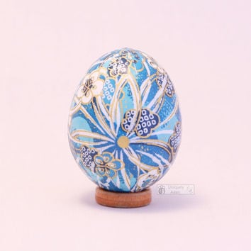 Easter washi egg, eggshell ornament, paper covered egg - turquoise blue with plum blossoms, flowers